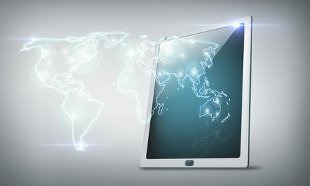 Tablet pc with world map