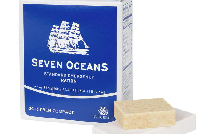 Seven OceanS® Emergency Ration packet with food