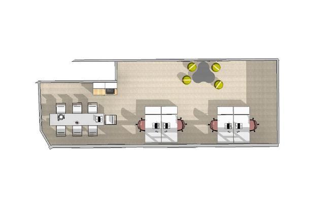 Forslag til planløsning i ledig lokale 57 m2