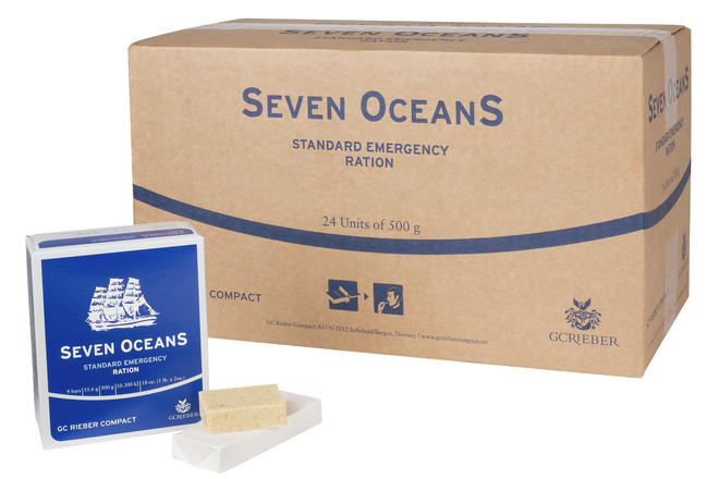 Seven OceanS® Emergency Ration packet with food & carton