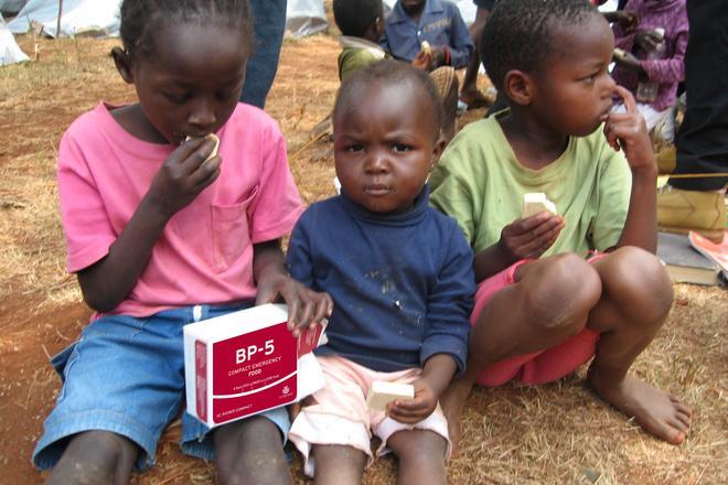 Children consuming BP-5™ in Kenya