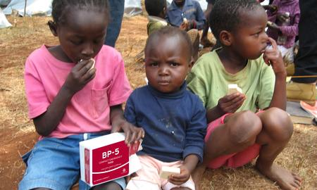 Children consuming BP-5™ in Kenya