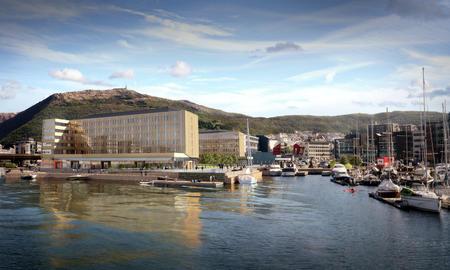 Illustrasjonsfoto av GC Riebers nye hotell og næringsbygg i Solheimsviken