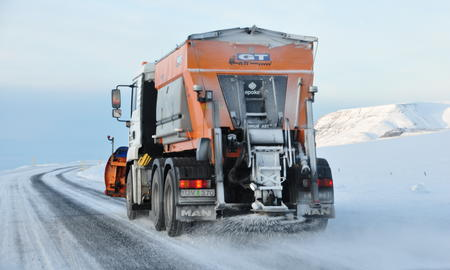 Salting truck on the road